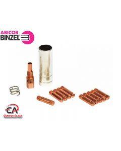Abicor Binzel 1,0mm 250 A Komplet plinskih kontaktnih sapnica sa nosačem i oprugom