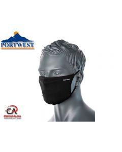 Troslojna antimikrobna tekstilna maska za lice crna CV33 Portwest Covid
