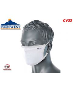 Troslojna antimikrobna tekstilna maska za lice bijela CV33 Portwest Covid