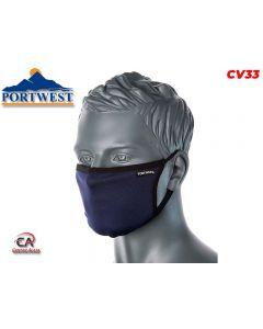 Troslojna antimikrobna tekstilna maska za lice plava CV33 Portwest Covid