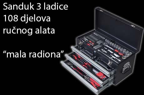 Kofer s 3 ladice i radionička garnitura alata 108 djelna